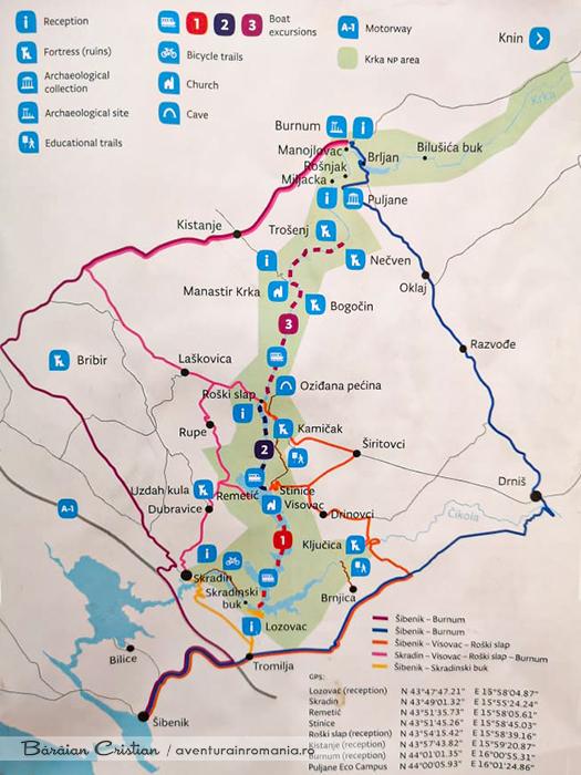 Harta Parcul Național Krka